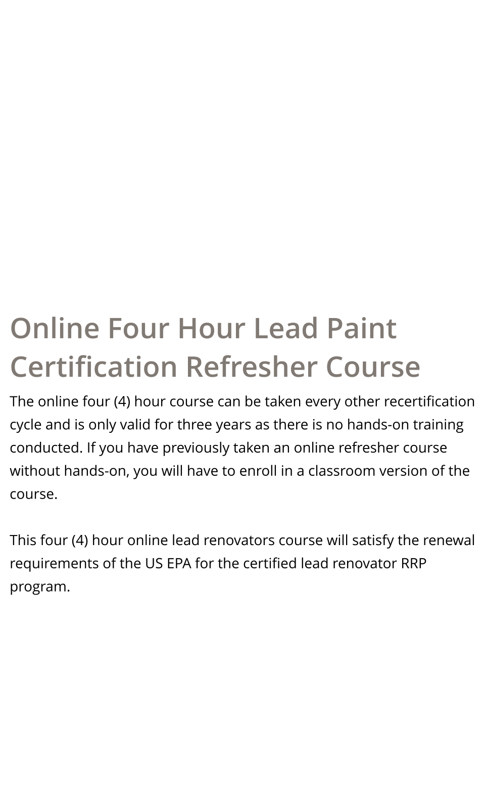 Michigan Epa Lead Paint Rrp Certification Refresher Online